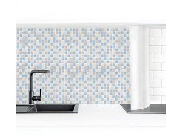 Bilderwelten Küchenrückwand »Mosaikfliesen Meersand«, blau, 70x350cm, Premium, Blau