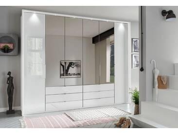 WIEMANN Panorama-Falttürenkleiderschrank »Kansas«, mit Spiegel und Glas, weiß, Breite 300 cm, 2-türig + 2 Faltüren, weiß/Weißglas und Spiegel