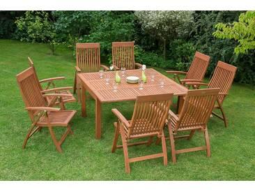 MERXX Gartenmöbelset »Commodoro«, 9tlg., 8 Sessel, Tisch, ausziehbar, Eukalyptusholz, natur, natur