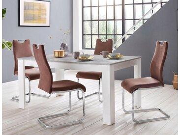 Homexperts »Zabona« Essgruppe (1 Tisch + 4 Stühle), braun, braun