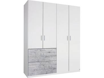 rauch SELECT Kleiderschrank, weiß, Breite 181 cm, 4-türig, ohne Aufbauservice, ohne Aufbauservice, weiß mit grauem Vintage-Dekor