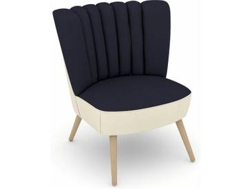 Max Winzer® build-a-chair Stuhlsessel »Aspen« im Retrolook, zum Selbstgestalten, blau, Korpus: Flachgewebe 16452 creme, Flachgewebe 16452 dkl.blau