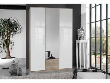 Wimex Kleiderschrank »Greven«, natur, Breite 135 cm, 1 Spiegel, 2 Schubkästen, 1 Spiegel, 2 Schubkästen, struktureichefarben hell/Hochglanz weiß