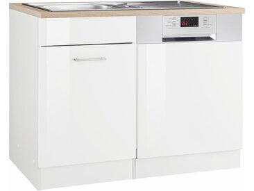 HELD MÖBEL Spülenschrank »Utah« Breite 110 cm, mit Tür/Sockel für Geschirrspüler, weiß, Weiß Hochglanz