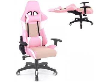 Gamer Racing Bürostuhl Kunstleder als Schalensitz rosa beige creme