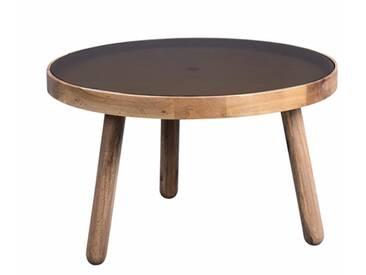 Couchtisch Beistelltisch rund aus Holz, drei Beine mit Glasplatte grau