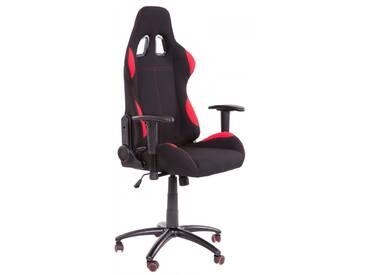 Gamer Racing Bürostuhl Stoff als Schalensitz schwarz rot