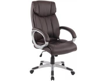 Bürostuhl Schreibtischstuhl Chefsessel mit Armlehnen braun Kunstleder