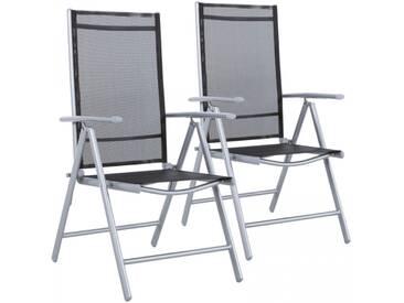 Gartenstühle 2er Set Alu Mesh Stoff Gewebe silber-schwarz Klappstühle