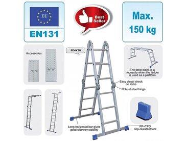 Multifunktionsleiter 4x3 Stufen + Plattform aus Alu TÜV geprüft 150 kg
