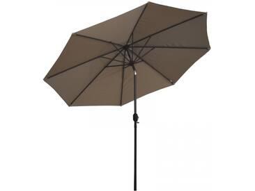 Sonnenschirm 3x3m mit Kurbel Alu mit UV-Schutz 50+ in graubraun/taupe