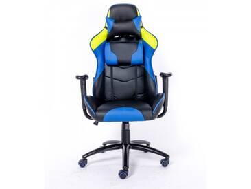 Gamer Racing Bürostuhl Kunstleder als Schalensitz schwarz blau gelb