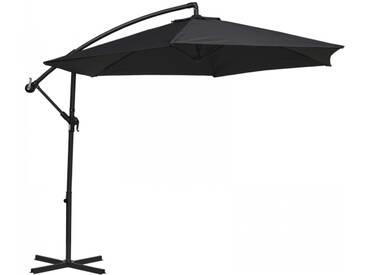 Sonnenschirm schwenkbar Alu Gestell Stoff Polyester grau UV Schutz 50+
