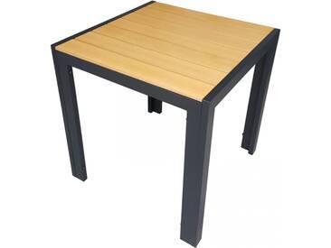 Aluminium Gartentisch 70x70cm Polywood Esstisch Holzoptik schwarz/natur