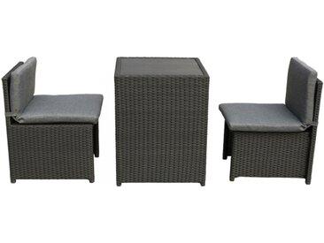 Balkonmöbel Set platzsparende Box Stahl PE-Rattan schwarz Polywood