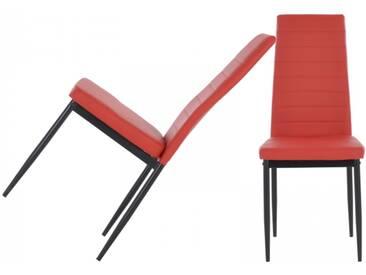 Designer Esszimmerstühle 2er Set mit Kunstleder rot Küchenstühle