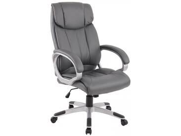 Bürostuhl Schreibtischstuhl Chefsessel mit Armlehnen grau Kunstleder