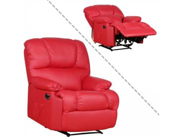 Fernsehsessel / Relaxsessel aus Kunstleder in rot mit Liegefunktion
