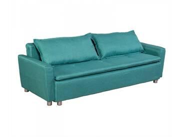 Schlafsofa 3-Sitzer Schlafcouch Bett in grün mit Bettkasten