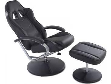 Racing TV Sessel + Hocker Kunstleder schwarz ergonomisch kippbar
