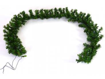Künstliche Girlande mit Beleuchtung 270 cm lang Tanne in grün als Deko