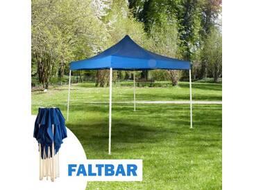 Faltpavillon 3 x 3 m in blau, Camping und Festivalzelt mit Tragetasche