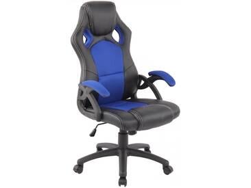 Racing Bürostuhl Gamer schwarz blau Schreibtischstuhl als Schalensitz