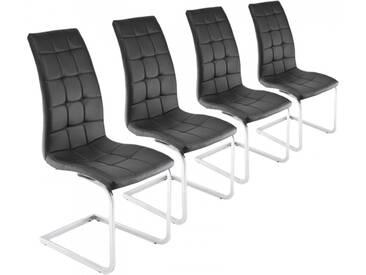 Freischwinger 4er Set schwarz Esszimmerstühle Schwingstühle Kunstleder