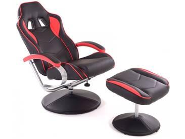 Racing TV Sessel + Hocker Kunstleder schwarz-rot ergonomisch kippbar