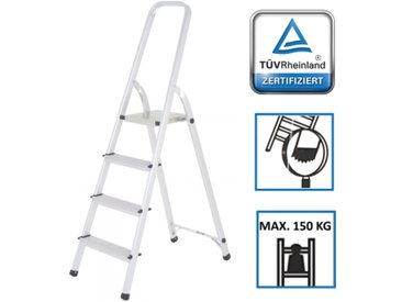 Trittleiter aus Alu 4 Stufen Sicherheitsbügel TÜV geprüft bis 150 kg