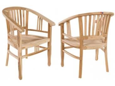 2er Set Teak Holz Stühle Sessel Teakholz von MACO mit Armlehne