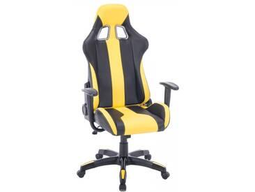 Bürostuhl Kunstleder ergonomisch Gamer Bürosessel Gaming Chair in gelb