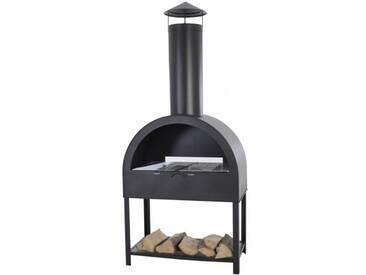 Gartenkamin Grill Terrassenofen Feuerstelle aus Stahl in anthrazit