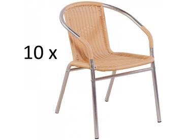 10er Set Bistrostühle in beige Poly-Rattan und Aluminium silber