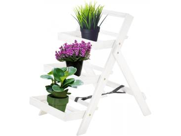 Pflanzregal Blumentreppe Akazienholz weiß 3 Ablagen 80x54x75cm HxBxT