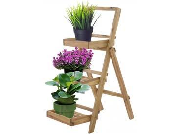 Pflanzregal Blumentreppe Akazienholz natur 3 Ablagen 105x45x75cm HxBxT