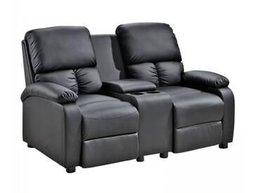2er Kinosessel STAR - Zweisitzer TV-Relaxsessel Fernsehsessel schwarz