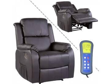 Fernsehsessel Massagefunktion Heizung Liegeposition Kunstleder schwarz