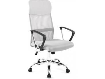 Bürostuhl mit Netzstoff in grau + Armlehnen Chefsessel Chrom Gestell