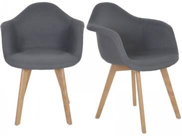 2er Set Retro Esszimmerstühle Stoff Schale anthrazit + Lehnen + Holz
