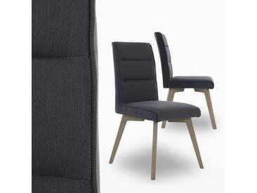 2er Set Esszimmerstühle Küchenstühle aus Stoff grau + Holzbeine Retro