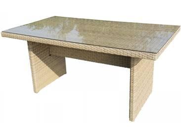 Gartentisch aus Polyrattan in natur mit Glasplatte für Garten/Terrasse