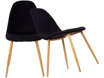 Esszimmerstuhl 2er Set mit Stoffbezug schwarz Küchenstuhl Retro Design