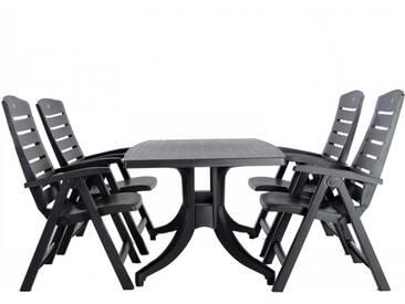 Sitzgruppe Gartengarnitur 5er Set Kunststoff Tisch + 4 Stühle grau