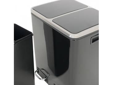 Mülleimer Abfalleimer in schwarz zur Mülltrennung-2x15 Liter Edelstahl