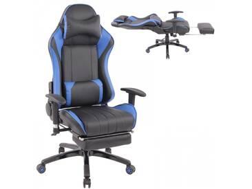 XXL Gamer Racing Bürostuhl Kunstleder als Schalensitz schwarz blau