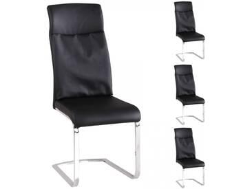 4er Set Schwingstühle Kunstleder schwarz gepolstert - Freischwinger