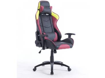 Gamer Racing Bürostuhl Kunstleder als Schalensitz schwarz rot gelb