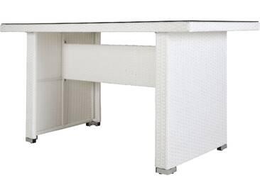 RESTPOSTEN: OUTFLEXX Sofatisch, weiß, Polyrattan, 150 x 80 x 78cm, inkl. Glasplatte