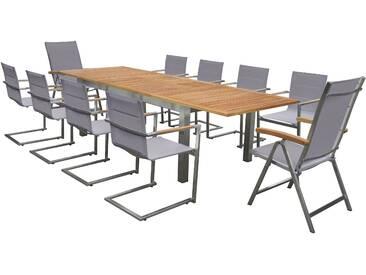 OUTFLEXX Set, taupe, Edelstahl/Teak, Ausziehtisch, 8 Stühle padded, 2 Multipositionssessel